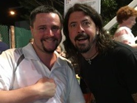 Wilmington musician Mark Bader with Dave Grohl at Funland in Rehoboth Beach on July 31, 2016.