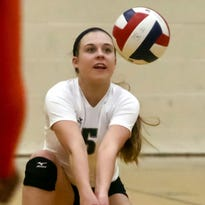 Greenfield libero Julia Zacher settles under a serve during the host Hawks' three-game sweep of Racine Park in a WIAA Division 1 regional match Thursday, October 20, 2016.