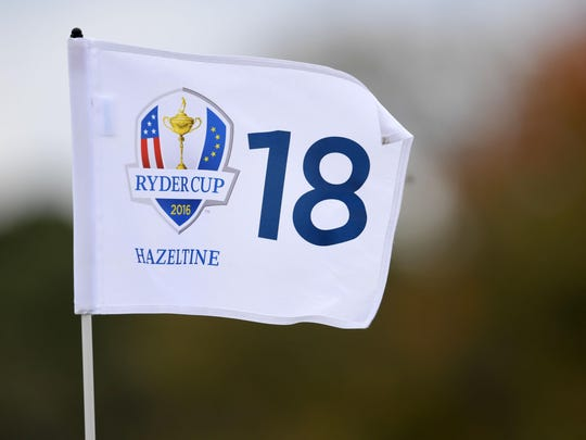 A detailed view of the pin flag on the 18th green during the practice round Wednesday for the Ryder Cup at Hazeltine National Golf Club in Chaska.