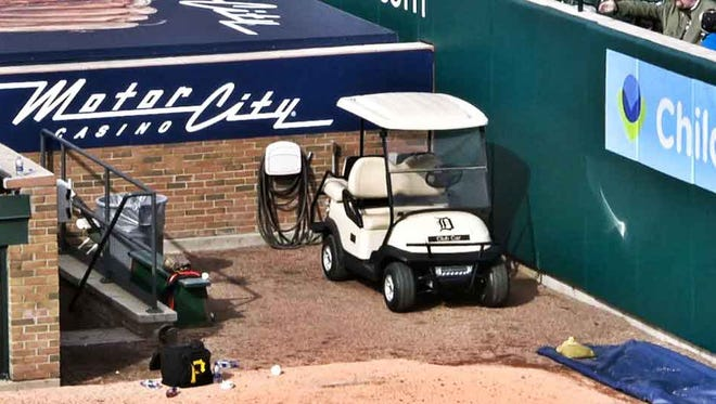 A bullpen cart at Comerica Park is parked in the Pirates' bullpen on Friday.