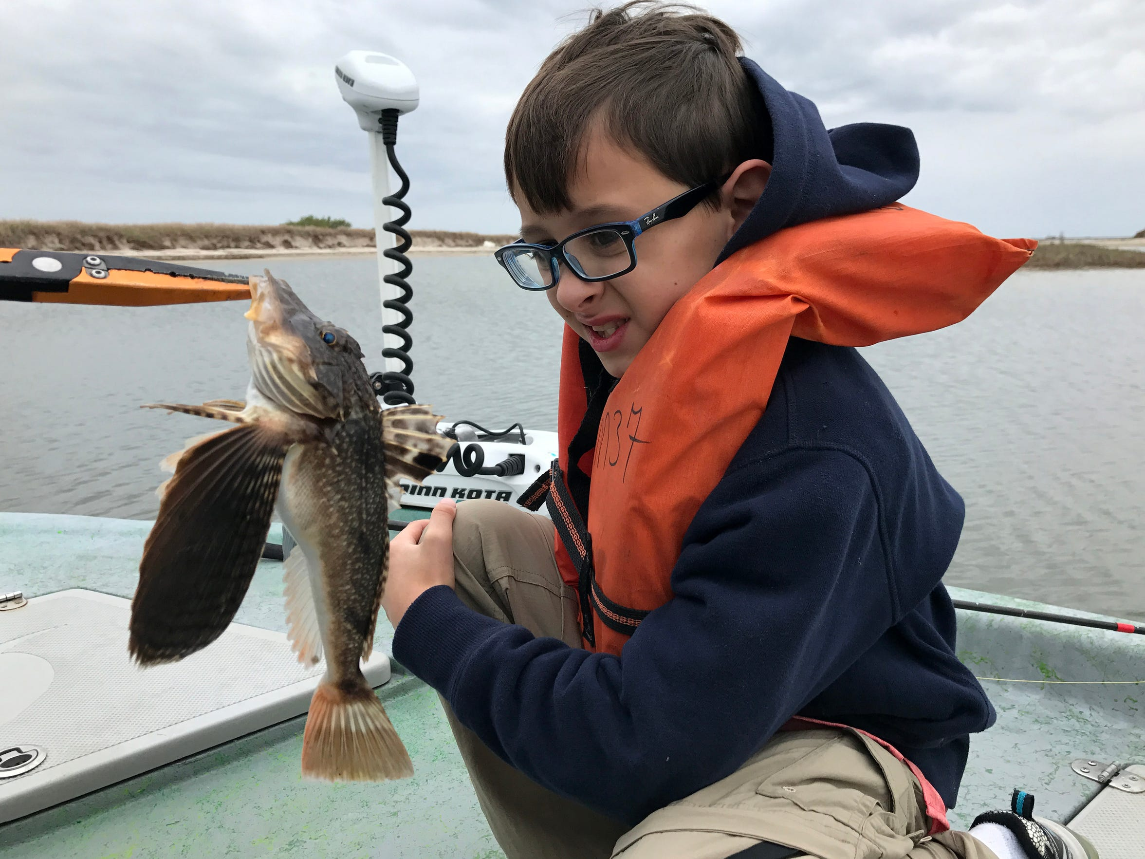 Experiencing a day of fishing with a first-time angler never gets old. This is Damien Pyles, grandson of Premont Superintendent Steve VanMatre, looking at his first searobin.