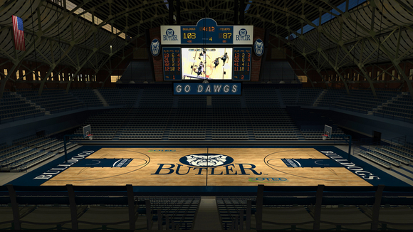 A rendering of the new video board at Hinkle Fieldhouse, coming this fall.