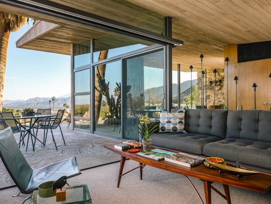 The indoor-outdoor view at Edris House in Palm Springs.