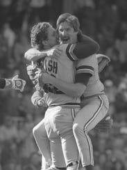 Lance Parrish congratulates his no-hit pitcher, Jack