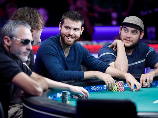 Damian Salas, Michael Ruane, Jack Sinclair and Bryan Piccioli. from left, compete during the World Series of Poker, Monday, July 17, 2017, in Las Vegas.