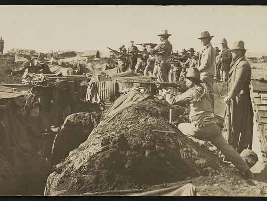 Mexican troops are pictured in trenches, circa 1915,