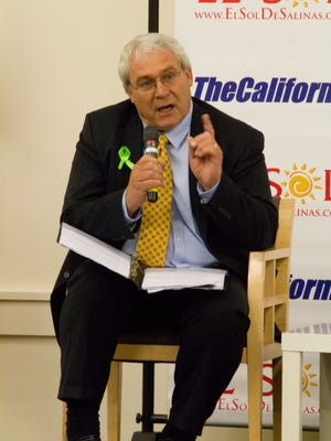 Candidate Dennis Donohue addresses questions at Thursday's political forum