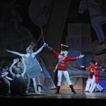 Hannah Roberts, an 11-year-old from, Bridgewater, had the holiday vacation of a lifetime.  After auditioning and being cast and many hours of rehearsal.  She performed with the New Jersey Ballet Company in its 41st Annual Nutcracker at the Mayo Center for the Performing Arts in Morristown to sold out houses.  Pictured above is Hannah Roberts with some of the senior members of the company in opening scene of the ballet. From left is Eilsa Franky, Sergio Aramante, Hannah Roberts, and Kerry Cox.  Photo courtesy Jolee Roberts