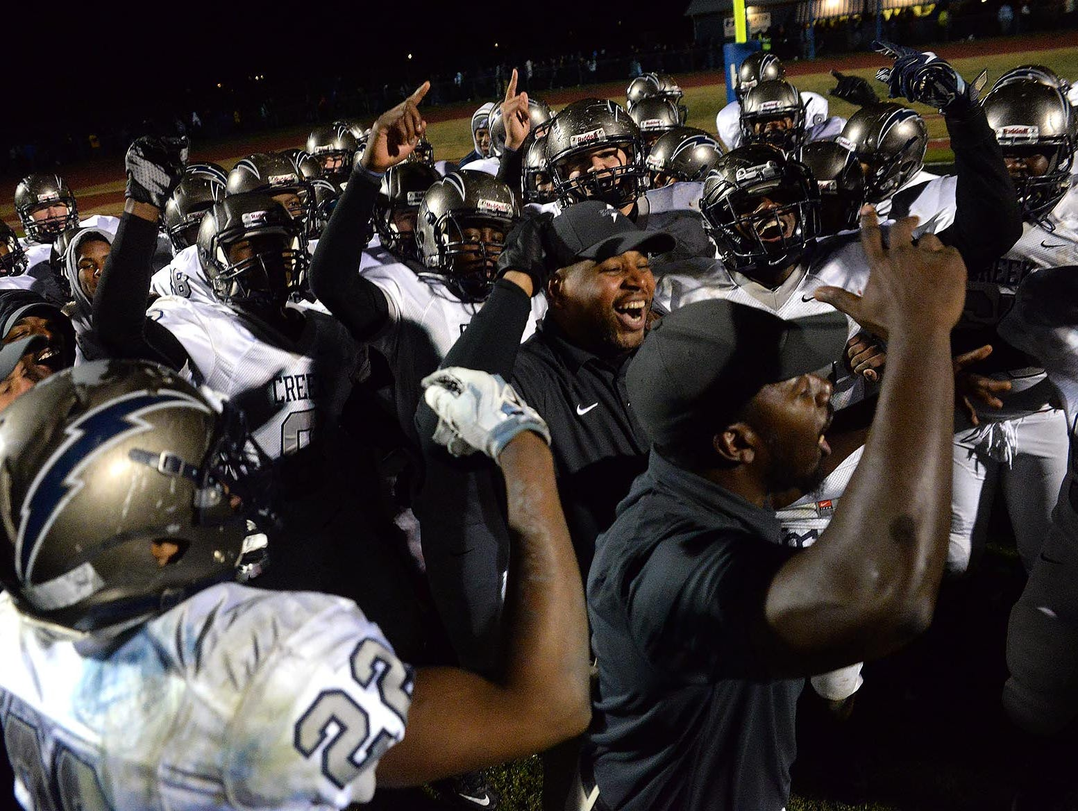 Timber Creek celebrates after defeating Hammonton in the sectional semifinals.