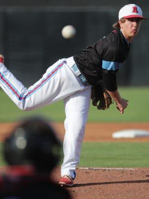 Arrowhead pitcher Luke Schraufnagel throws during the first inning.