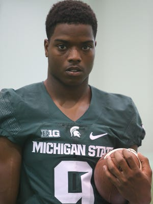 Michigan State receiver Donnie Corley poses during picture day in East Lansing on Monday, August 8. Corley is one of four freshmen at the position who could play this year.