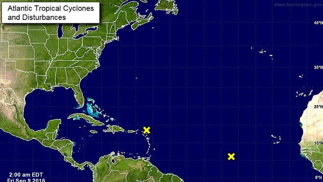 In the tropics, the National Hurricane Center in Miami is monitoring two areas of interest, one over the northern Antilles and another in the eastern Atlantic for possible storm development over the next several days.