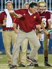 Mater Dei head coach Mike Goebel reacts during their game against Central at the Reitz Bowl in Evansville, Friday, Oct. 7, 2016.