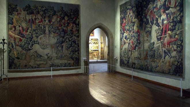 The Unicorn Tapestries cover entire walls at the Cloisters in upper Manhattan.