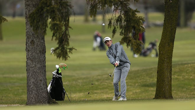Green Bay Preble's Quinn Miller hits a shot between two trees on hole No. 9 during the Metro Tournament at Wander Springs Golf Course in Greenleaf on Wednesday.