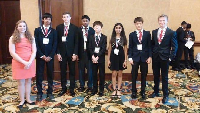A West High team, from left to right: Niki Alden, Chirag Jain, Jocoa Kerschen, Arshaq Saleem, Jeongwoo Seo, Khushi Kapoor, Mason Wang and Christopher Mott.