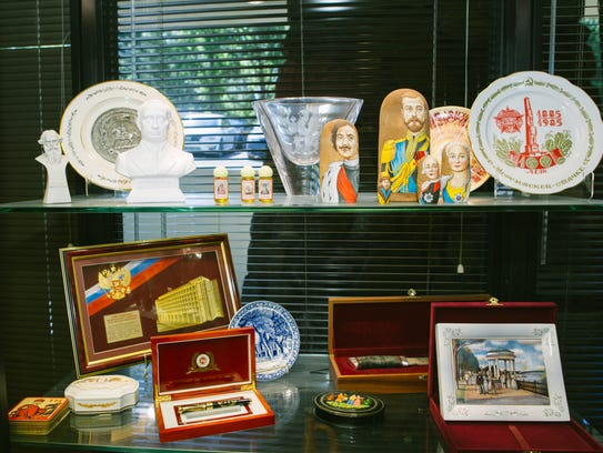 Mementos from various trips to Russia decorate the