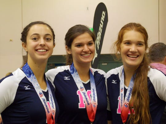 Central Valley Christian's Lindsey Calvin (right) and Hailey Hilvers (center) teammed up with Tulare Union's Taylor Slover (left) to win a USA Volleyball Junior Nationals championship with the Bakersfield Volleyball Club.