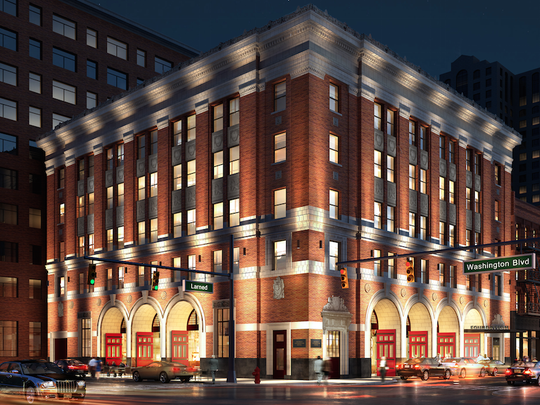 Artist's rendering shows the what the Detroit Foundation Hotel, set to open in May in the former Detroit Fire Department headquarters, looks like.
