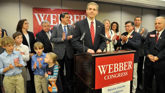 State Assemblyman Jay Webber speaks on election night at the Parsippany Sheraton Hotel on Tuesday.