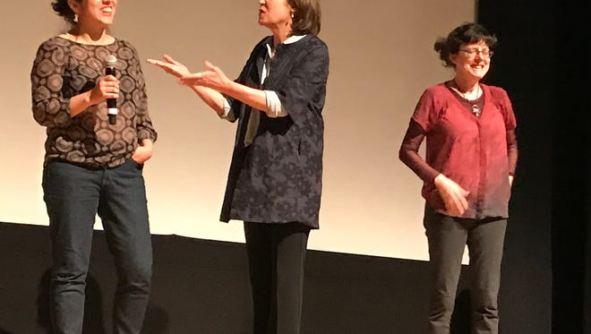 """Carla Gutierrez to the left, and directors Beaty West and Julie Cohen at the screening of """"RBG,"""" a documentary on the life of Supreme Court Justice Ruth Bader Ginsburg,"""