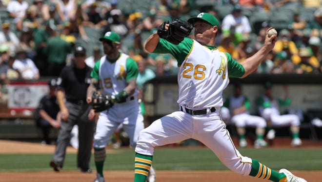Lefty Scott Kazmir is headed to Houston after a trade from Oakland on Thursday.