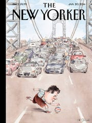 "Illustrator Barry Blitt's ""Playing in Traffic,"" the image of New Jersey Governor Chris Christie that he penned for January 20, 2014 New Yorker Magazine."