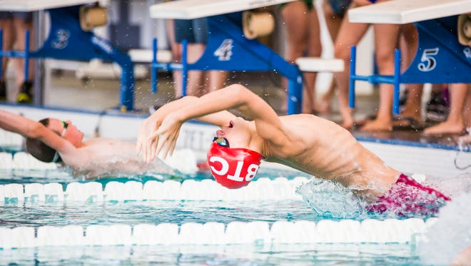 BTC's Simon Russell dives in for his record breaking Boys 9-10 25 Yard Backstroke at the 2017 Vermont Swim Association Championships in Hartford.