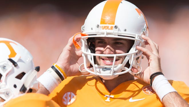 Tennessee quarterback Quinten Dormady (12) smiles during a Tennessee vs. South Carolina game at Neyland Stadium in Knoxville, Tenn. Saturday, Oct. 14, 2017.