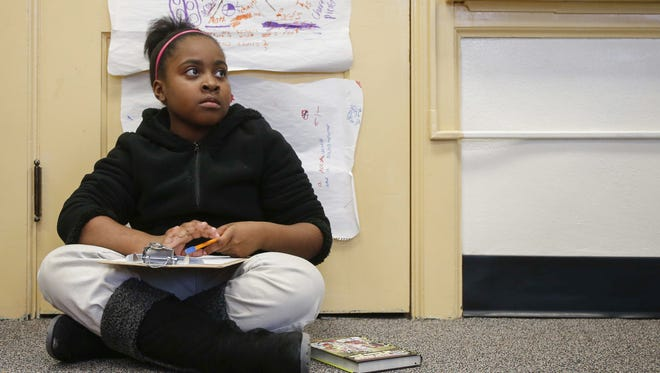 Breanna Ollie, 8, a third-grader at Moulton Elementary School, works on a project. Breanna Ollie, 8, a third-grader at Moulton Elementary School, works on a project during class on Thursday, March 3, 2016.