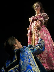 """Rebecca Douglas and Garrett Summitt play the title roles in the University of West Florida's production of """"Romeo and Juliet."""""""