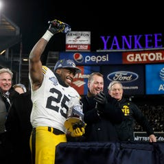 Iowa senior running back Akrum Wadley was named player of the game in Iowa's 27-20 win over Boston College during the 2017 Pinstripe Bowl at Yankee Stadium in Bronx, New York on Wednesday, Dec. 27, 2017.