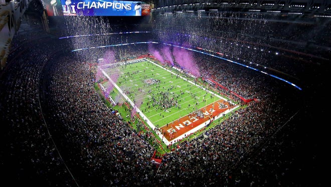 An overall view as the New England Patriots win Super Bowl LI against the Atlanta Falcons at NRG Stadium.