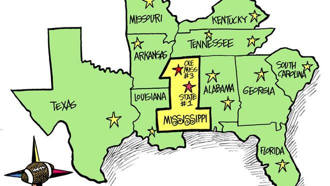 Marshall's cartoon for Saturday, October 18, 2014. A Revised SEC Map.