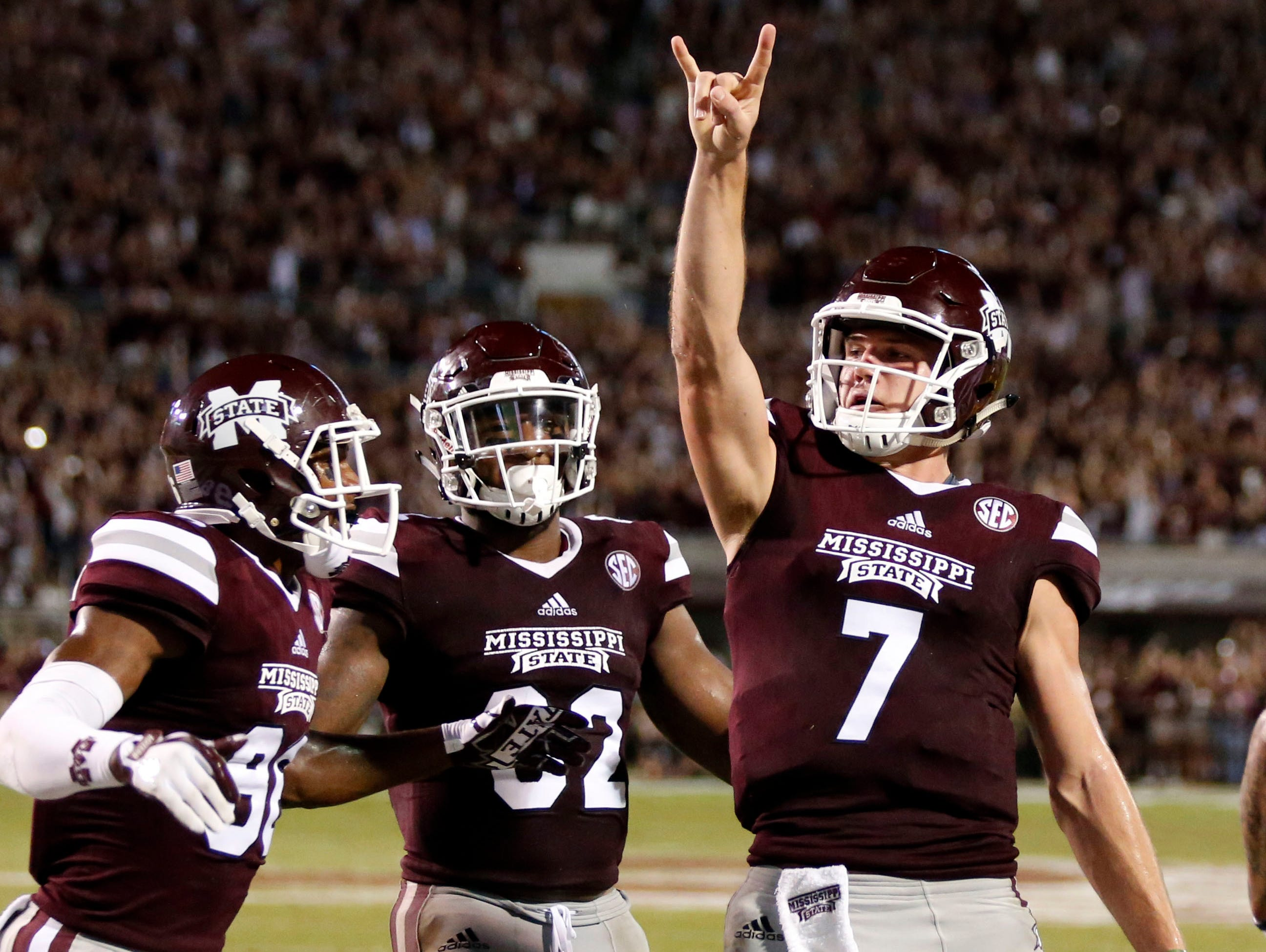 Mississippi State quarterback Nick Fitzgerald (7) celebrates his three-yard touchdown run against LSU during the first half of their NCAA college football game against in Starkville, Miss., Saturday, Sept. 16, 2017.