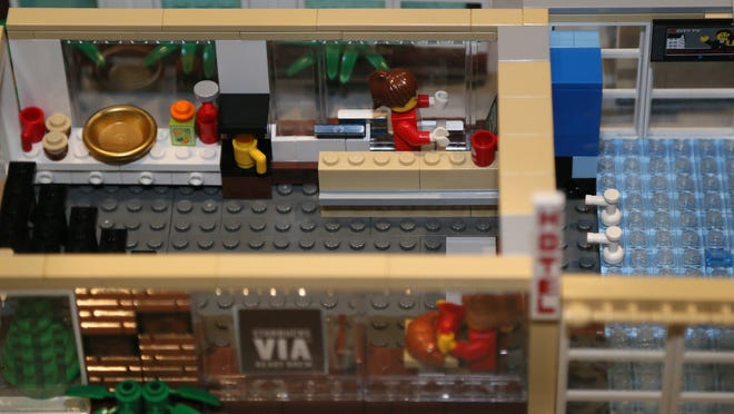 This is a detail of a Starbucks coffee shop created with Lego materials by participants of the Iowa LEGO Users Group (IowaLUG) that gathered at the Science Center of Iowa.