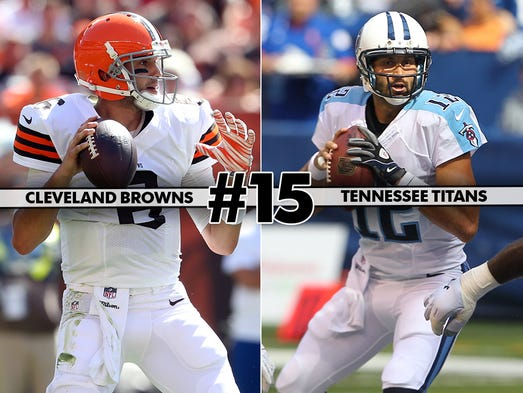 15. Browns at Titans: Tennessee trying to find anything to build on after three straight routs.