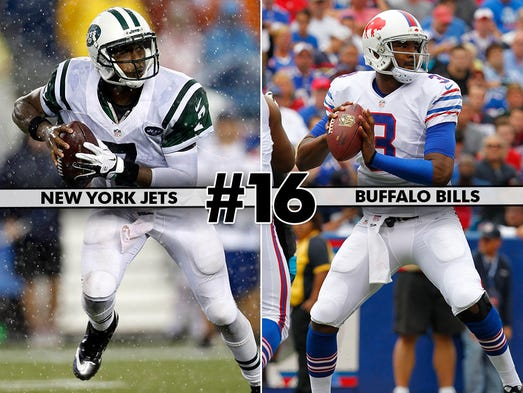 Buffalo Bills at New York Jets: This is the first of two matchups (presumably) this season between rookie quarterbacks Geno Smith and EJ Manuel, so there's that.