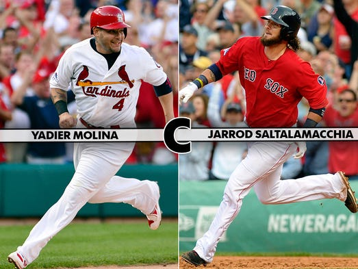 Yadier Molina is the gold standard behind the plate. He brings leadership and a golden arm. Jarrod Saltalamacchia has evolved into a solid backstop and drove in the game-winning run in Game 2 of the ALCS. Edge: CARDINALS