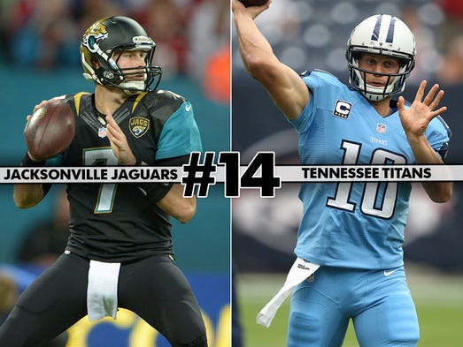 14. Jaguars at Titans: The Jaguars hope to use preparation from last week's bye to pounce on the AFC South rival Titans.