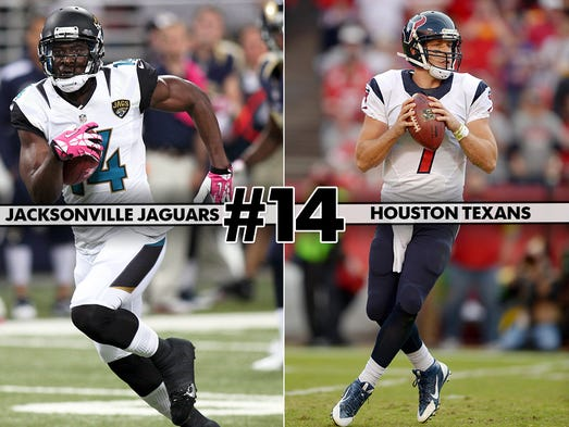 14. Jaguars at Texans: The impact on next year's draft positioning might be the primary reason to watch this AFC South tilt.