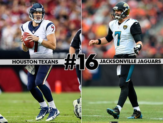 16. Texans at Jaguars: A Thursday Night Football matchup to answer the important question: Who truly wants that No. 1 overall draft pick in May?
