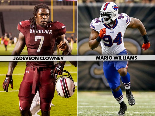 1. Jadeveon Clowney, DE, South Carolina – Mario Williams. Before the 2006 NFL draft, Williams faced many of the questions now being asked of Clowney. Williams' production during his final college season dropped off and he didn't seem to have as big of an impact on the game. Yet, his physical skills were never in question, which led him to become the No. 1 overall pick.