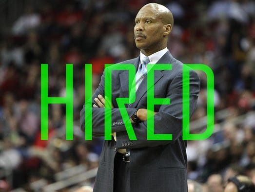 Byron Scott was hired by the Lakers after being fired a year ago by the Cavaliers. Scott, a great player for the Lakers in the 1980s and 1990s, has a 416-521 career record with three teams (Cleveland, New Orleans and New Jersey).