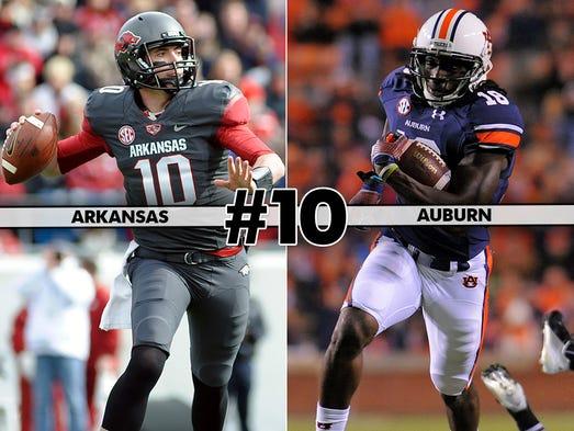 Arkansas at No. 5 Auburn (Saturday at 4 p.m., SEC Network)