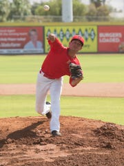 Jacob Mesa pitches during Palm Springs Power try-outs in Palm Springs on Memorial Day May 29, 2017.