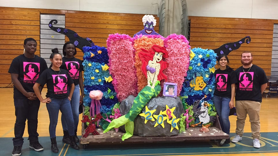 "Members of the Class of 2016 show off their ""Little Mermaid"" float at Wednesday's homecoming at Sayreville High School."