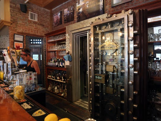 The interior bank vault used as an office and storage,