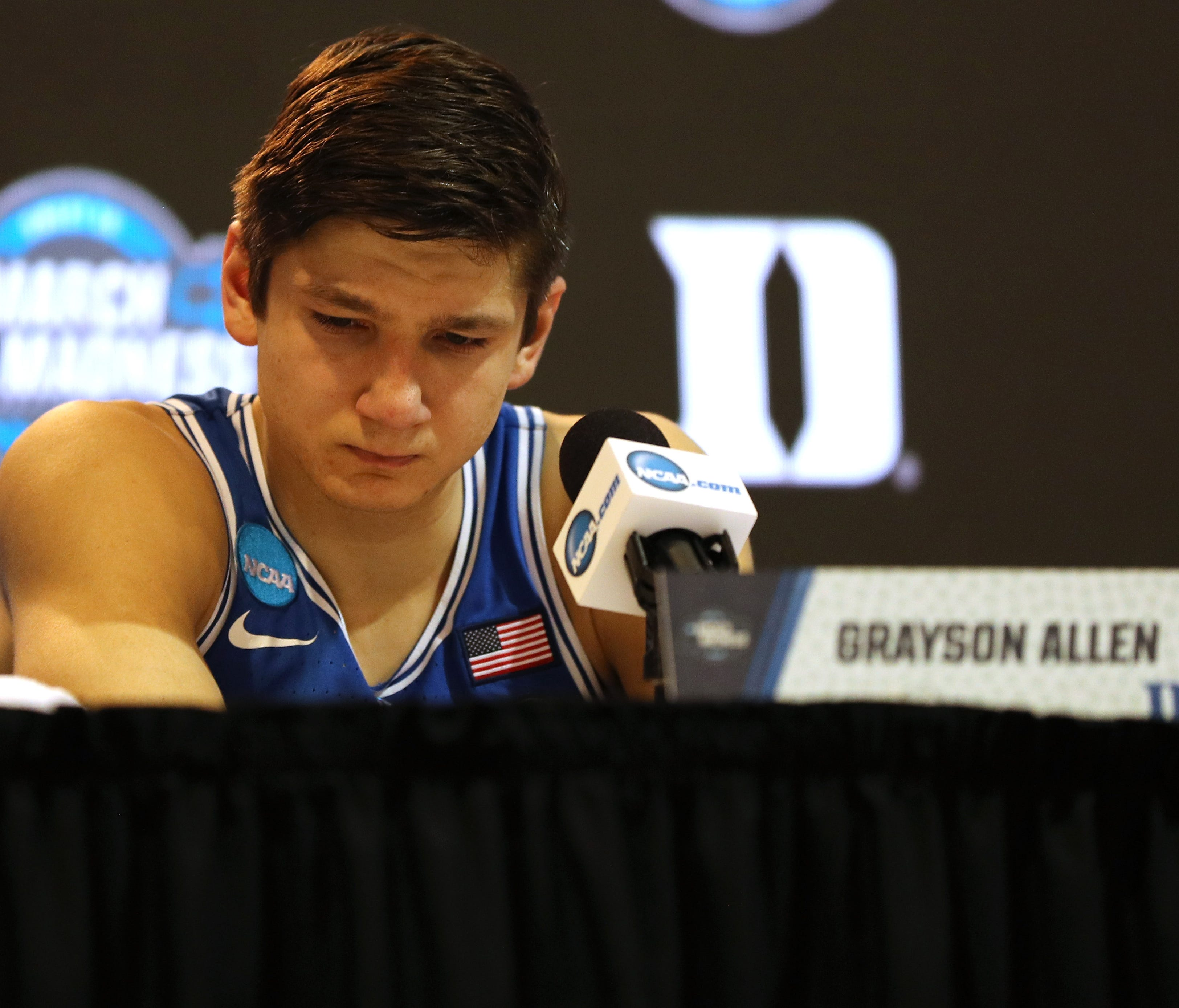 A sad Duke guard Grayson Allen reflects on the end of his career following the Blue Devils' season-ending loss to Kansas in the Elite Eight.