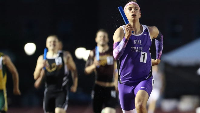 Kiel's Trenton Nickel competes in the WIAA Division 2 1600 meter relay at the state track and field meet Friday, June 3, 2016, at the Veterans Memorial Stadium Complex in La Crosse, Wis.